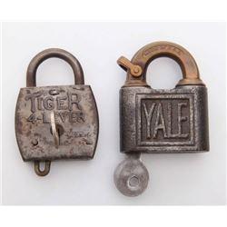 Two(2) Antique rail road locks.  Markings: Tiger, YALE