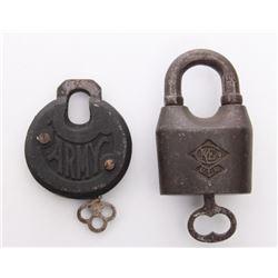 Two(2) Antique rail road locks.  Markings: U.S. Army, C