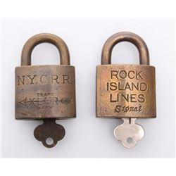 Two(2) Antique rail road locks.  Markings: Rock Island