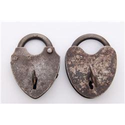 Two(2) Antique rail road heart shape locks.  Markings: