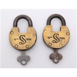 Two(2) Antique rail road locks.  Markings: S  SIZE: see
