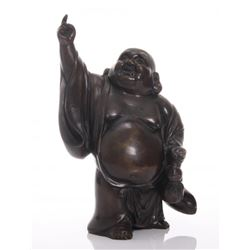 Vintage bronze lucky Buddha.  SIZE: see attached ruler