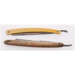 Two(2) antique folding straight razor blades.  Markings
