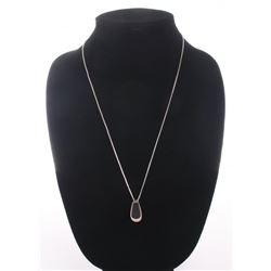 Vintage sterling silver onyx pendant necklace.  SIZE: s
