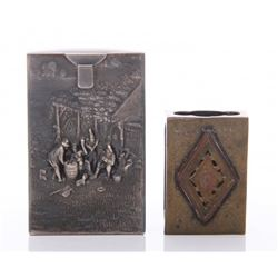 Two(2) Antique matchbox cases.  SIZE: see attached rule
