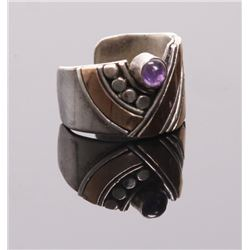 Art Deco sterling silver ring with purple stone setting