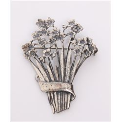 Vintage sterling silver pendant of a bouquet of flowers