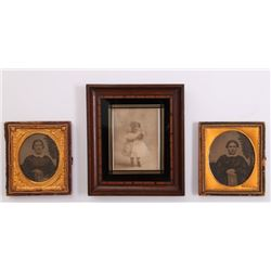 Three(3) antique framed tin types.  SIZE: see attached
