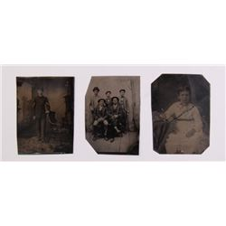 Three(3) antique tin types.  SIZE: see attached ruler p