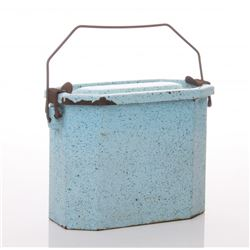 Antique French enamel cobalt lunch box.  SIZE: see atta