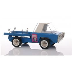 Vintage blue colored Sailor Trailer toy truck, made by