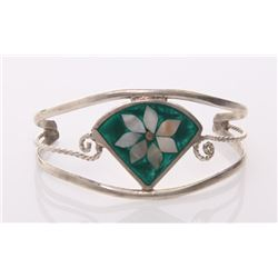 Vintage sterling silver bangle with inlaid mother of pe