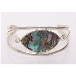 Vintage sterling silver bangle with abalone shell .   S