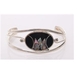 Vintage sterling silver bangle with inlaid abalone shel