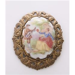 Vintage Western Germany painted brooch.  SIZE: see atta