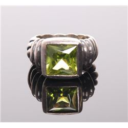 Sterling silver ring with peridot stone.  SIZE: see att