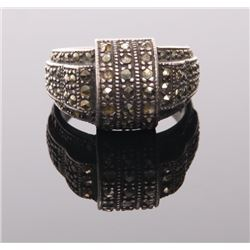 Sterling silver ring with marcasite stones.  SIZE: see