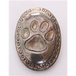Sterling silver pendant of a bobcat paw print.  SIZE: s