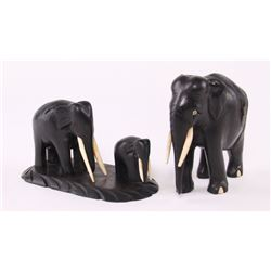 Family of ebony wood Elephants.  SIZE: see attached rul