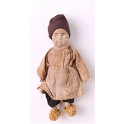 Antique miniature Dutch rag doll with original Dutch ou