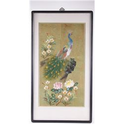 Chinese oil painting of a peacock atop a cliff gazing i