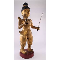 Southeast Asia gilt wood Warrior/Soldier.  Sword is rem