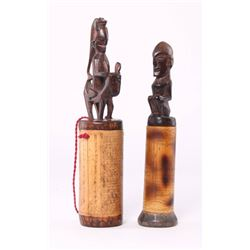 Two (2) African Hand-carved and engraved Bamboo and woo