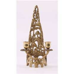Jewish Shabbat solid brass Candle Holder by Artist sign