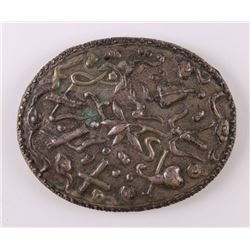 Stamped and Incised mirror with floral decoration.  SIZ