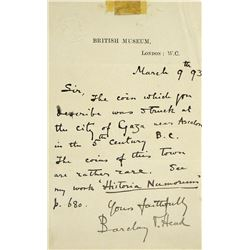 Handwritten 1893 Letter from Barclay V. Head