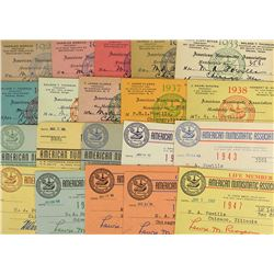 ANA Membership Cards, 1929-1947 Complete