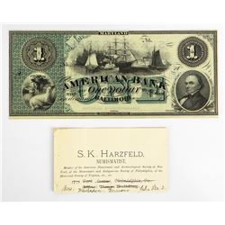 S.K. Harzfeld Promotional Piece on National Bank Note Co. Sample