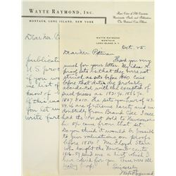 Two Handwritten Letters from Wayte Raymond to John Pittman