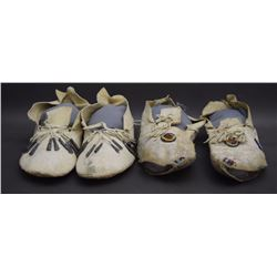 TWO PAIR OF PLAINS MOCCASINS