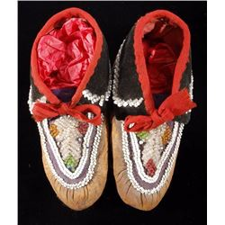 Iroquois Beaded Child's Moccasins 19th Century