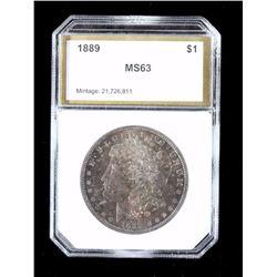 1889-P Morgan Silver Dollar PCI MS63 Toned