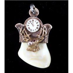 14K Gold & Ivory BPOE Elks Pocket Watch Fob