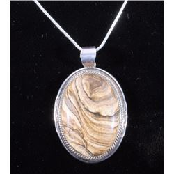 Navajo Large Agate & Sterling Necklace by K.Y.