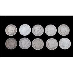 1881-1921 Morgan Silver Dollars Consecutive (10)