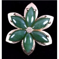 14K Chinese Gold & Jade Lotus Blossom Brooch