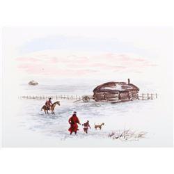 Navajo Western Watercolor by Wally Bilyeau