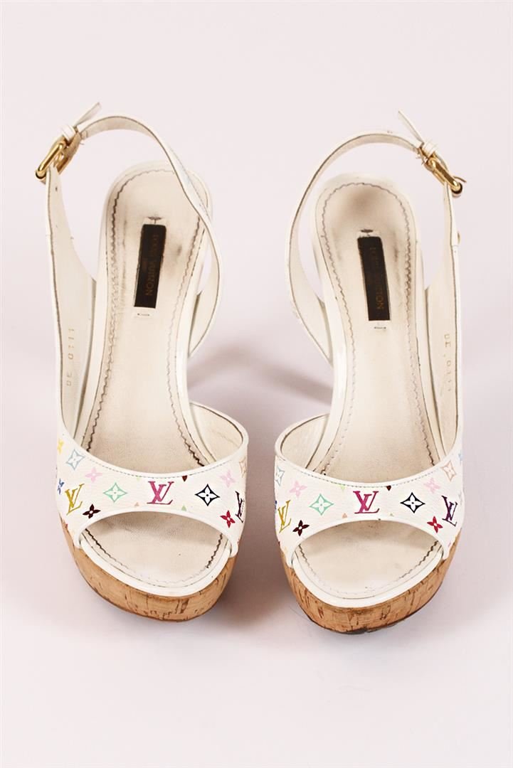 a889212f8bc ... Image 2   Authentic Louis Vuitton White Multicolor Monogram High Heels  ...