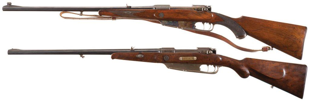 Two Mauser Gewehr Model 1888 Action Bolt Action Sporting Rifles -A) V  Chr   Schilling Rifle