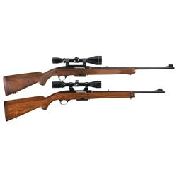 two winchester model 100 semi automatic rifles with scopes a