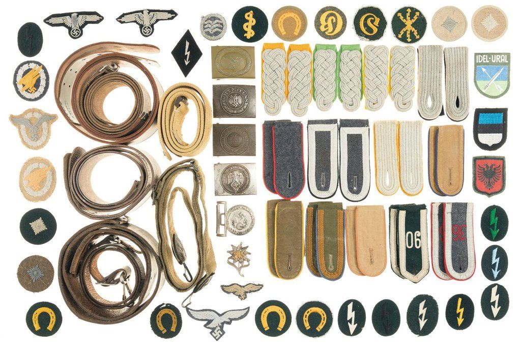 Assorted German/European Military Items, Including Patches, Rank Insignia,  and Belts