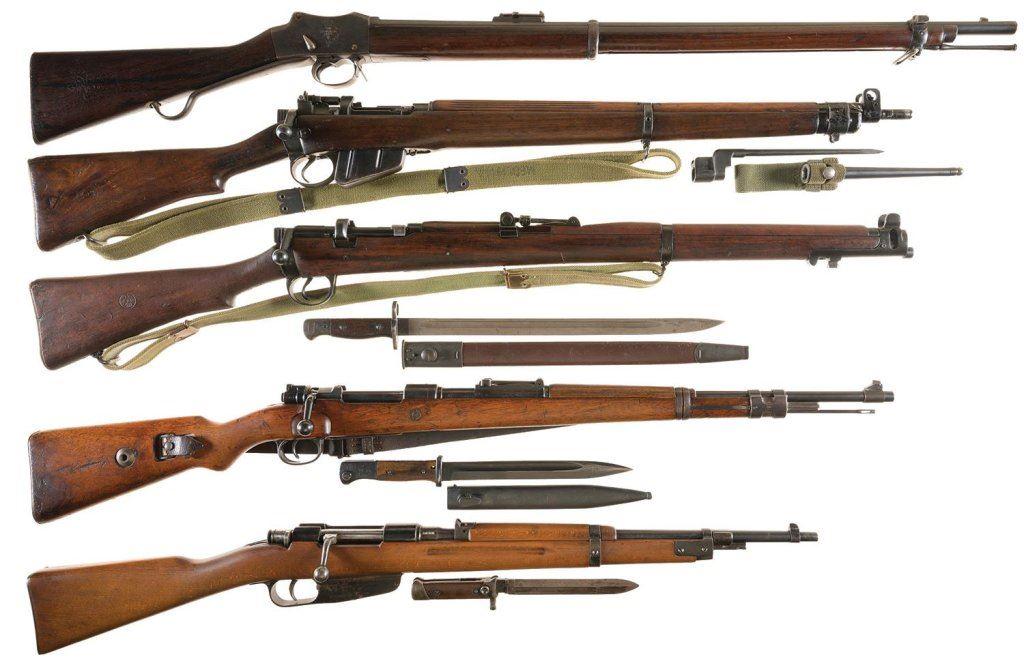 Five Military Long Guns -A) Enfield Martini Henry MK IV Single Shot Rifle