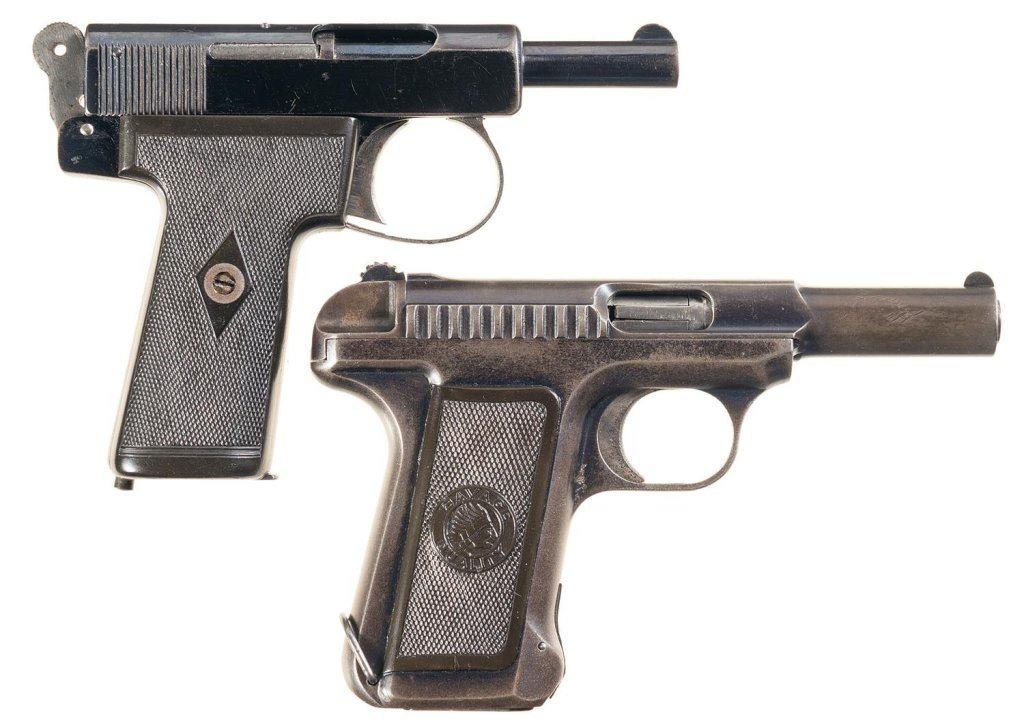 Two Semi-Automatic Pistols with Holsters -A) Webley & Scott Model 1908  Pistol