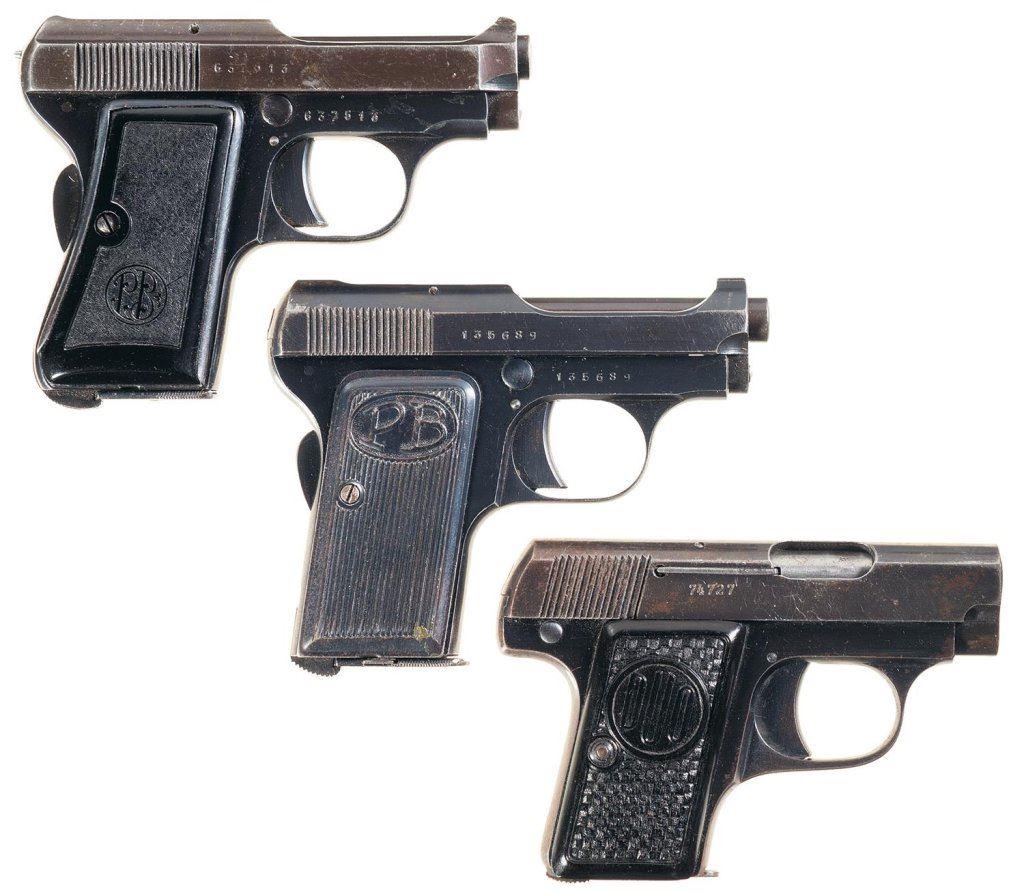 Three European Semi-Automatic Pocket Pistols with Holsters -A) Beretta  Model 318 Pistol