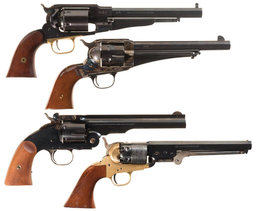 Four Single Action Revolvers -A) Dual Cylinder Pietta 1858 Remington  Revolver with Box and Loading T