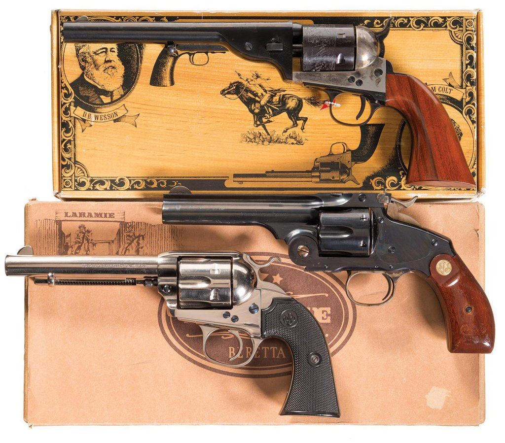 Three Single Action Revolvers -A) Cimarron Firearms Mfg  Open Top Army  Revolver with Box